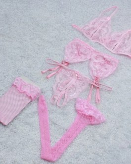 Lace Lingerie 4 Pc Set Bra, Panties, Garter Belt & Fishnet Stockings 4 Color Choices