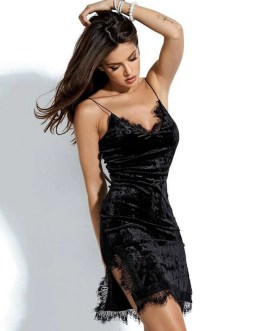 Velvet Cami Bodycon Dress With Eyelash Lace Trim
