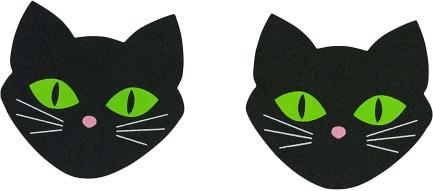 Black Cat Nipple Stickers Glowing Eyes Halloween