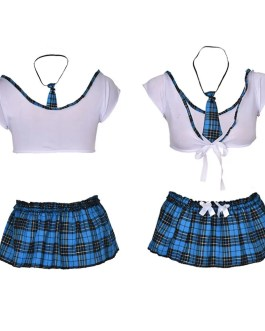 Sexy School Girl Costume in Turquoise Plaid