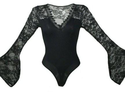 Plus size lace long sleeve body suit top