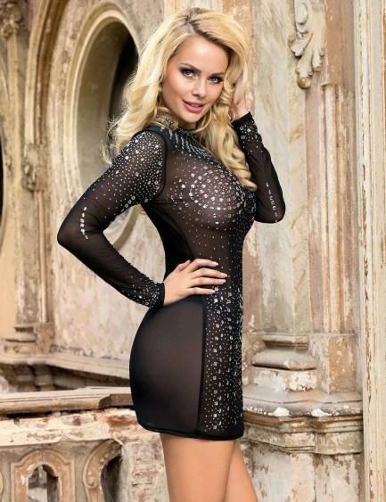 Mesh Rhinestone Sexy Transparent Dress