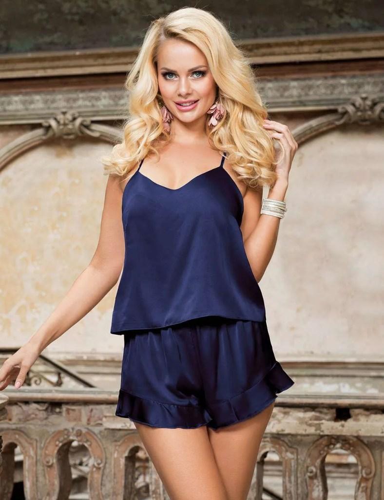 Blue Silky 2pc Pajama Set