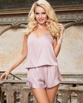 2pc Silky Pajama Set With Y-Strap Top And Ruffled Shorts Bottom In Nude