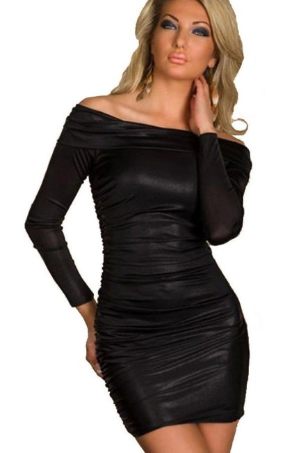 off shoulder shiny mini dress with ruching