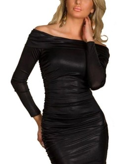 Off Shoulder Long Sleeve Bodycon Mini Dress With Ruching