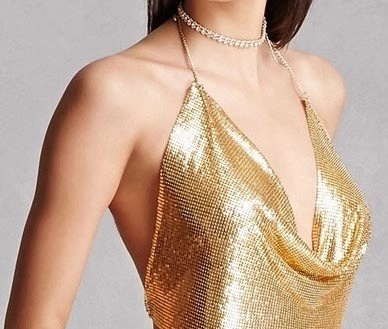 Gold Chainmail Halter Top With Bustier Bra Chain
