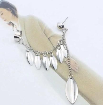 silver petals drop stud earring