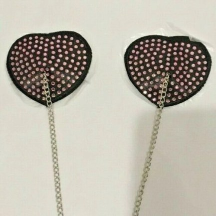 Heart Sequin Pasties With Chain