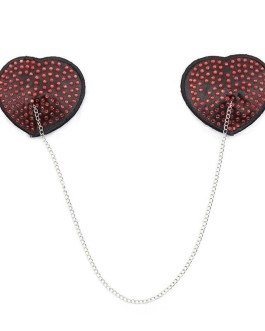 HOT Heart Shape Sequin Look Pasties With A Connecting Chain
