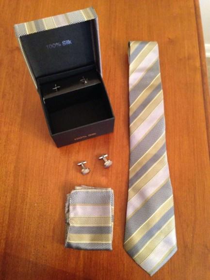 100% Silk Tie Handkerchief And Cufflinks Set In Gift Box