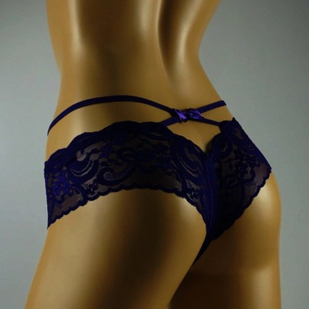 sexy boyshort lace crotchless panties