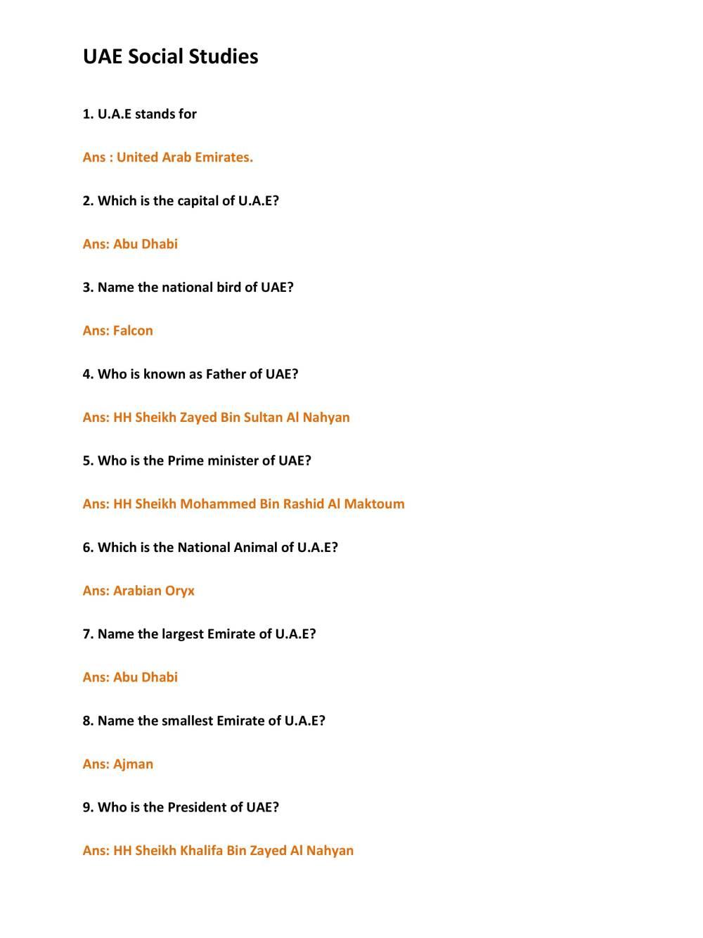 medium resolution of Arabic UAE Social Studies Worksheet - Notes