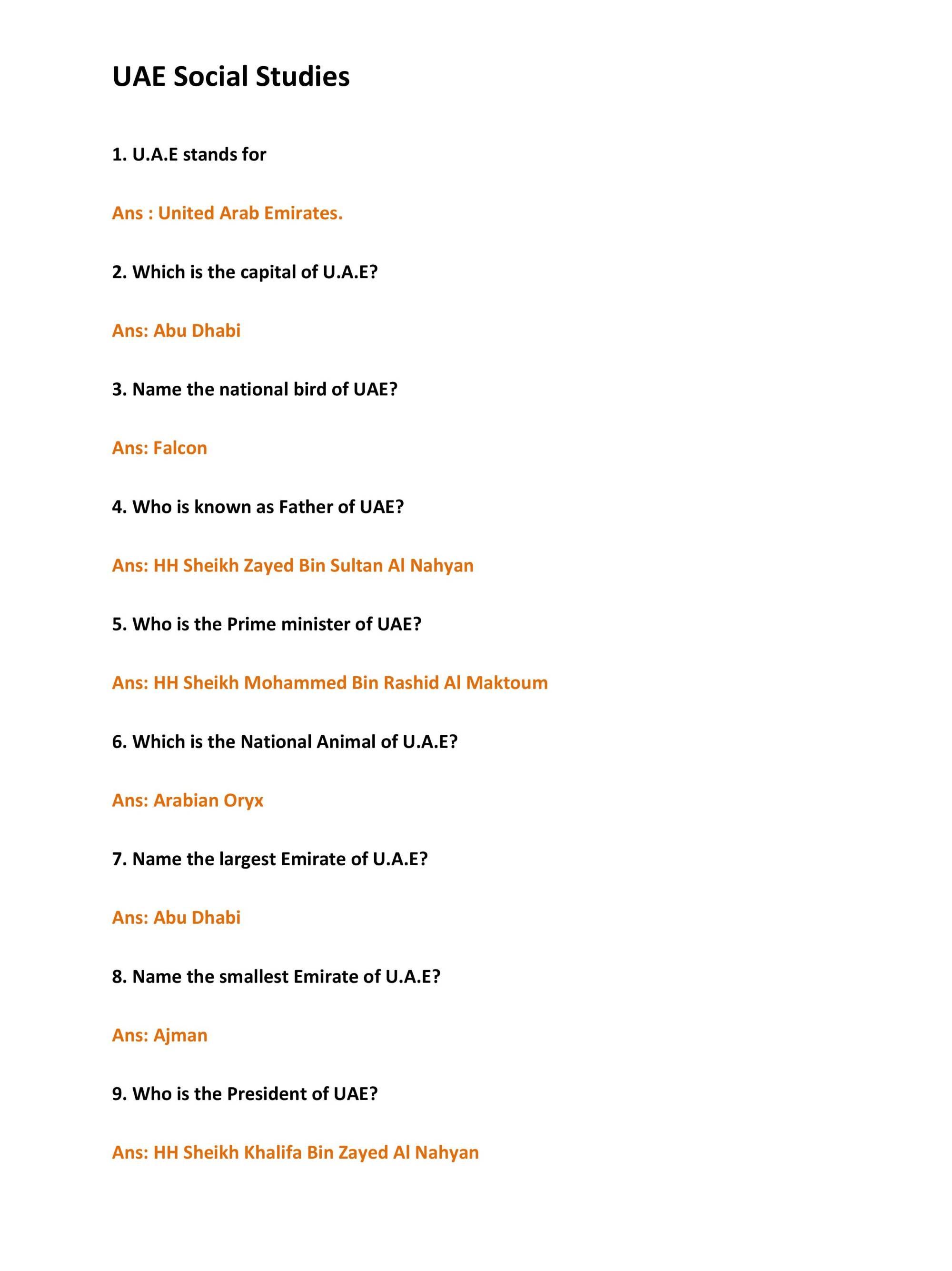 hight resolution of Arabic UAE Social Studies Worksheet - Notes