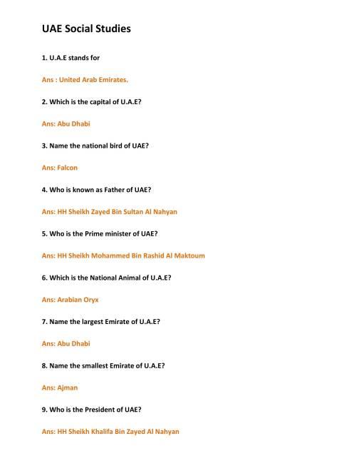 small resolution of Arabic UAE Social Studies Worksheet - Notes