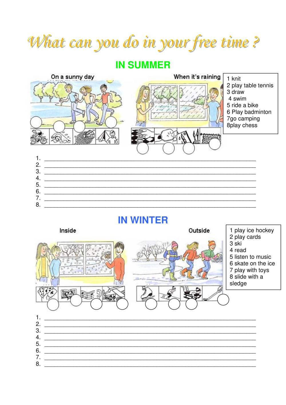 medium resolution of Worksheet To Make Students Talk About Leisure Time - Notes