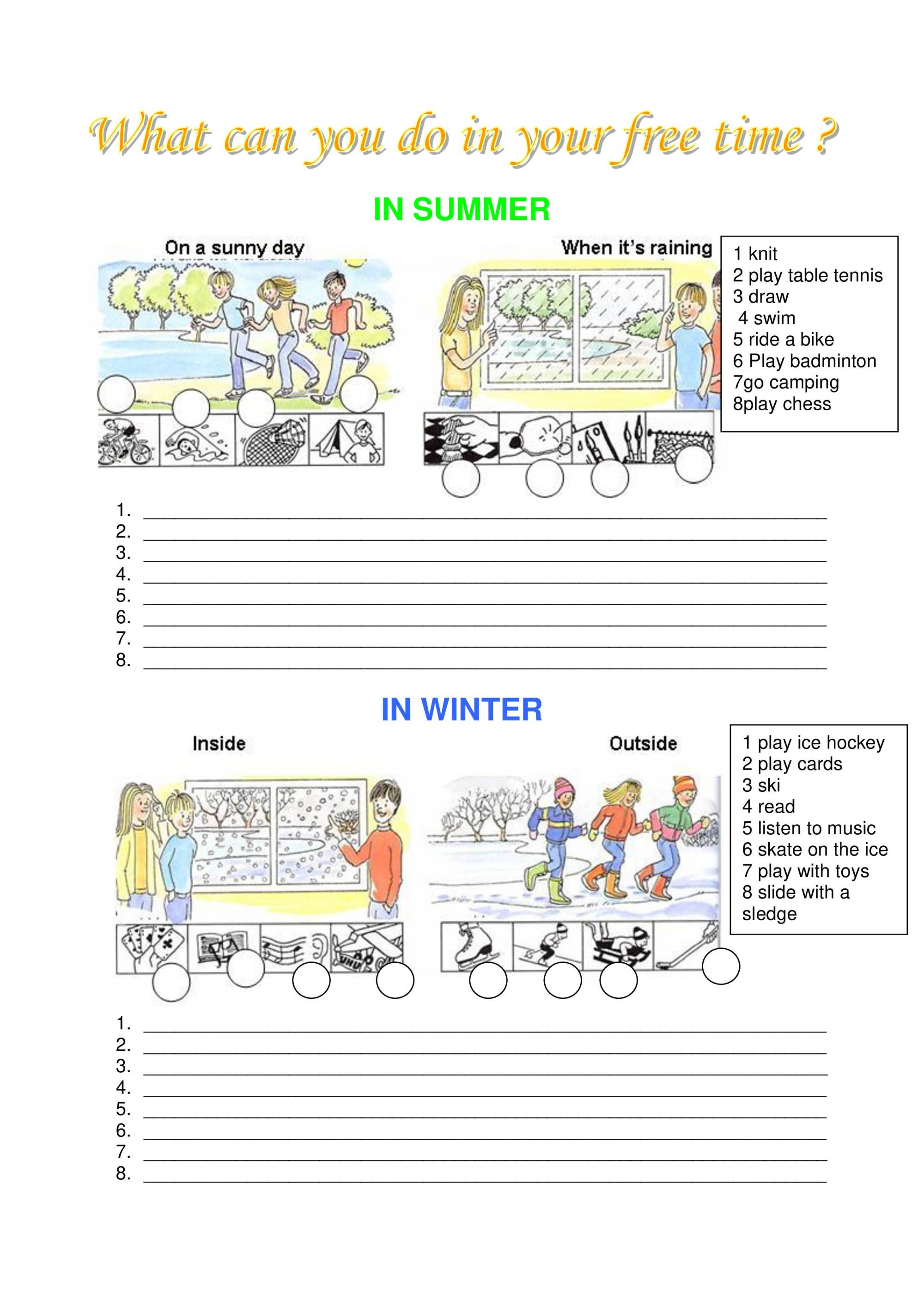 hight resolution of Worksheet To Make Students Talk About Leisure Time - Notes