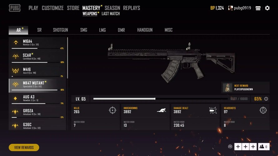 Nouveau système maîtrises d'armes