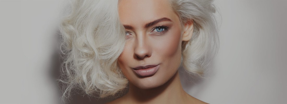 Woman with platinum blond hair