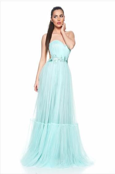 stil, rochie lunga din tull
