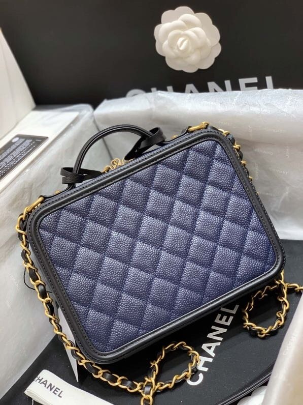 Chanel Vanity Case Bag 21cm Caviar Leather Gold Hardware Spring/Summer 2020 Collection. Navy Blue/Black My Purse Shop