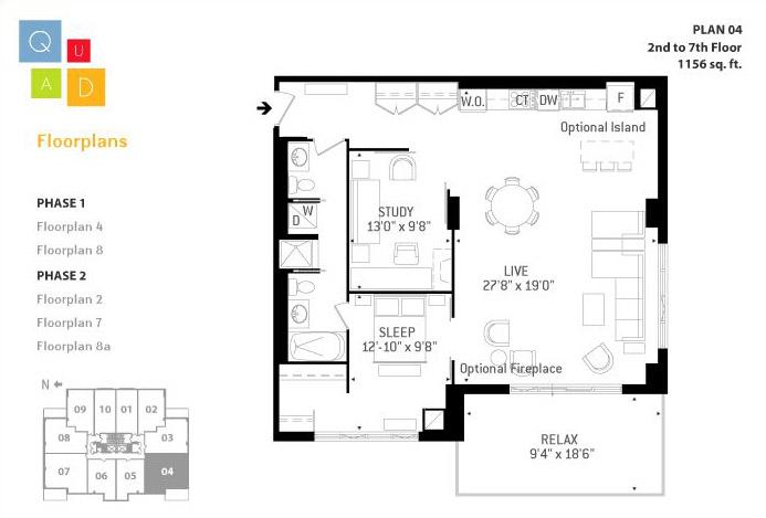 Floor Plans for Quad Lofts