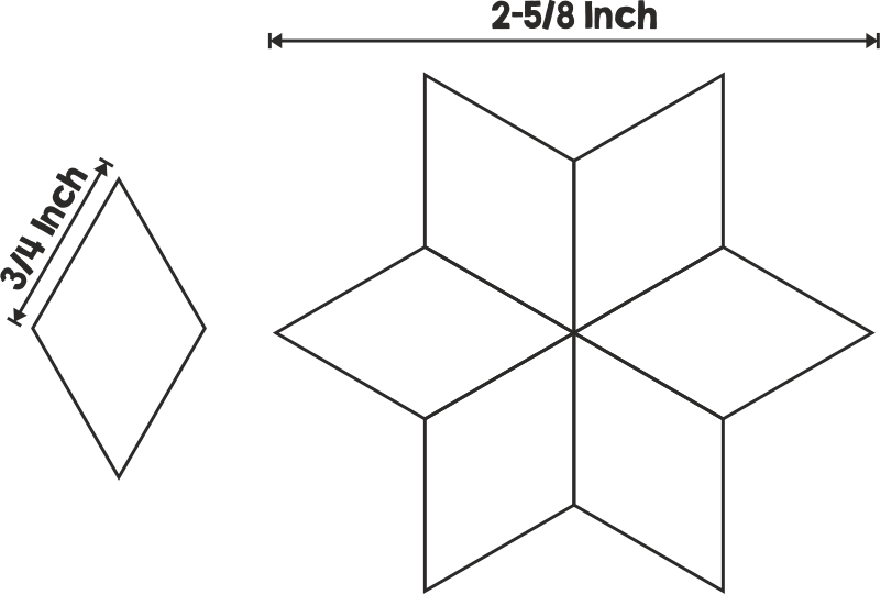 English Paper Piecing Schablonen Diamant 3/4 Inch (100 St