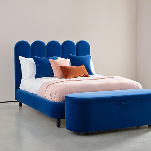 la tete de lit en velours pour une