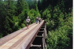Trestle 1, Day 1. This is a shot of Trestle #1, the first of 18 trestles to have decking and railings added