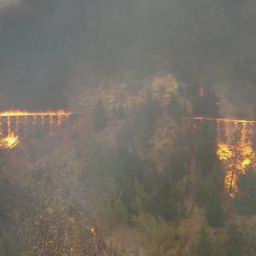 Two trestles. Two trestles burning, probably #14 and #15.