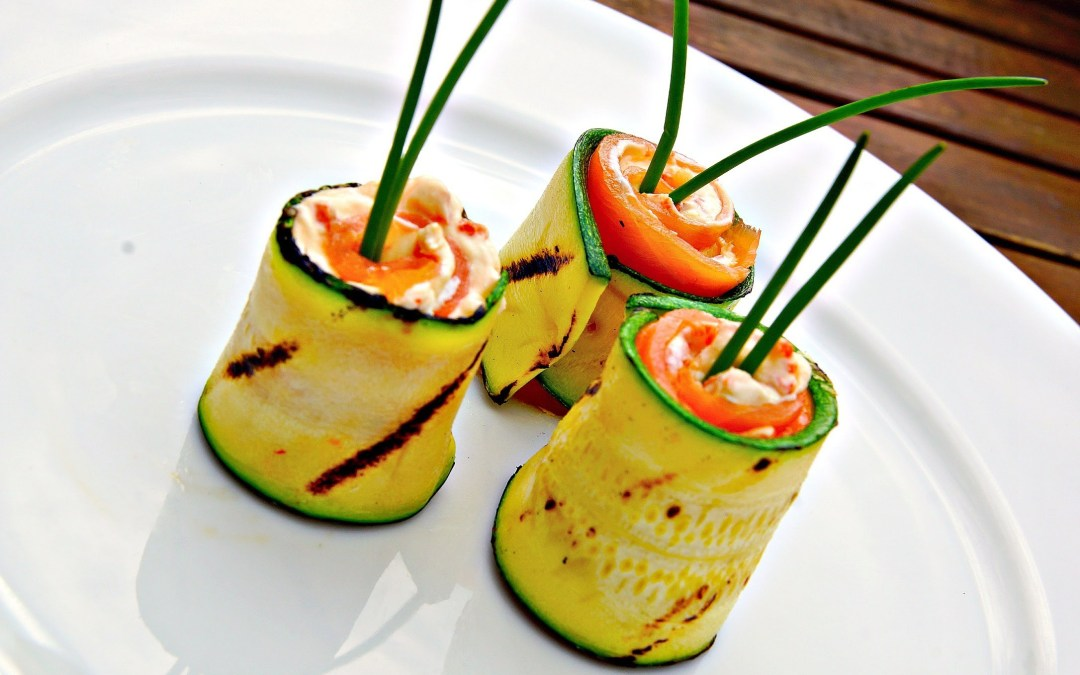 Grilled Zucchini, Cream Cheese, and Smoked Salmon Rolls