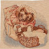Cushion - Tapestry Fabric, French, Elegant & Fine - (Artist, Beatrix Potter) - Mrs. Tiggy Winkle