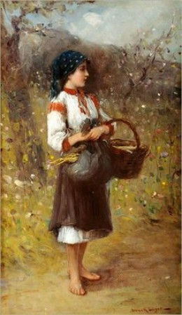 (Hungarian:1846-1910) - Girl With Basket