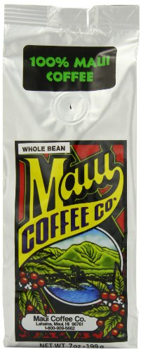 Maui Coffee Company 100% Maui Coffee (Whole Bean), 7-Ounces (Pack of 3)