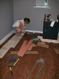 finishing up the laminate floor installation