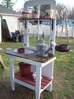 repurposed door potting table