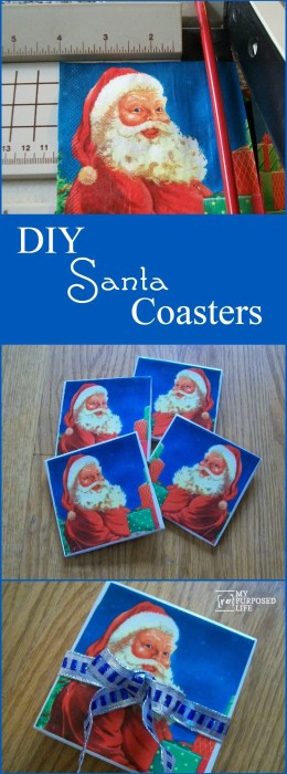 DIY Santa Coasters made with napkins and white glue #MyRepurposedLife #easy #Christmas #project #decoupage #gift #idea