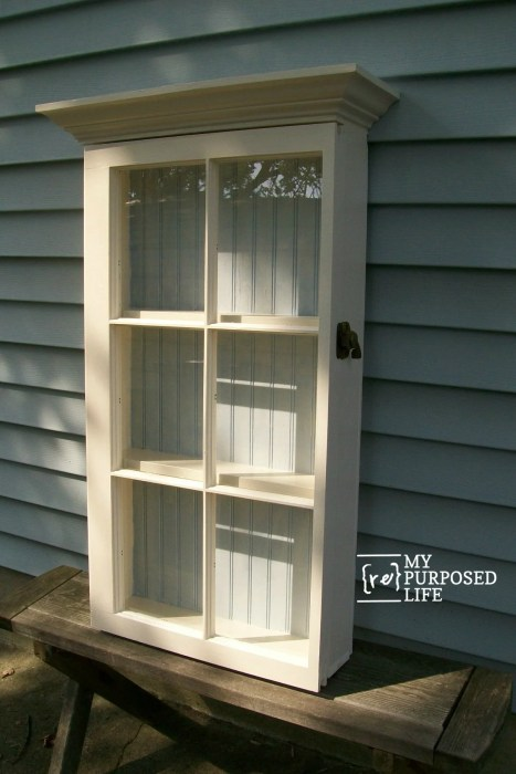how to make a repurposed window cabinet MyRepurposedLife #easy #window #cabinet #diy #project