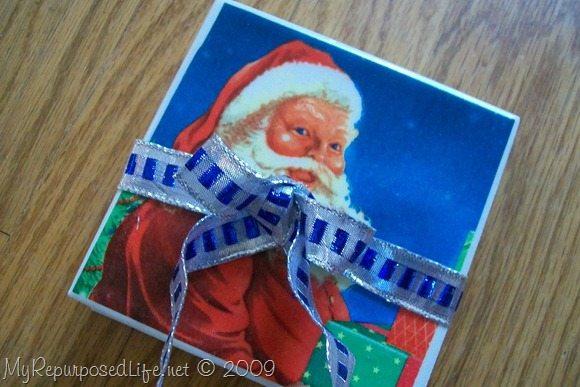 Santa Coasters Made With Holiday Napkins My Repurposed