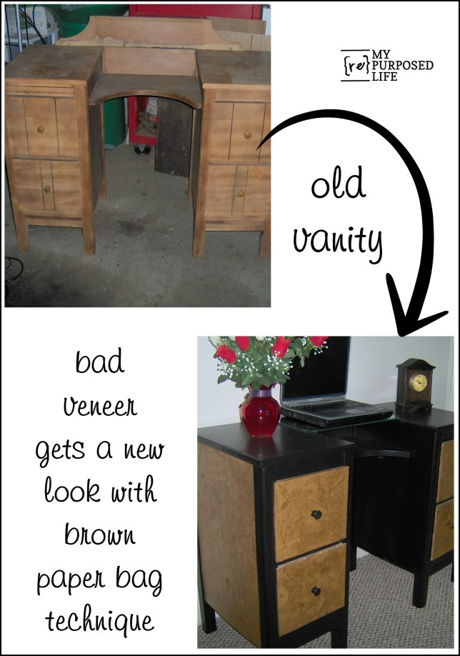 old vanity-bad veneer-faux leather-brown paper bag technique MyRepurposedLife.com