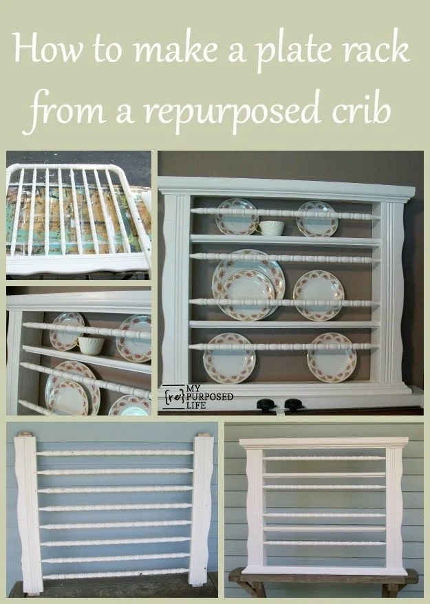 How to turn a repurposed crib into a plate rack. This tutorial will show you how to make a plate rack out of a repurposed crib. #MyRepurposedLife #Repurposed #crib #plate #rack via @repurposedlife