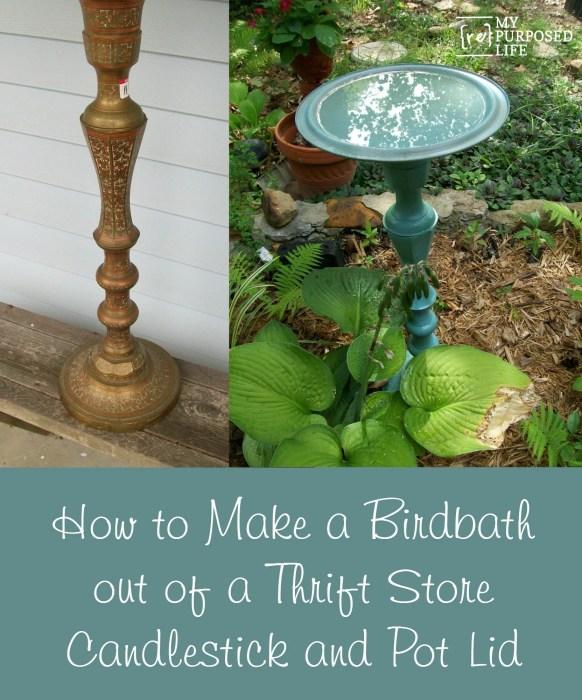 MyRepurposedLife-DIY-candlestick-pot-lid-birdbath