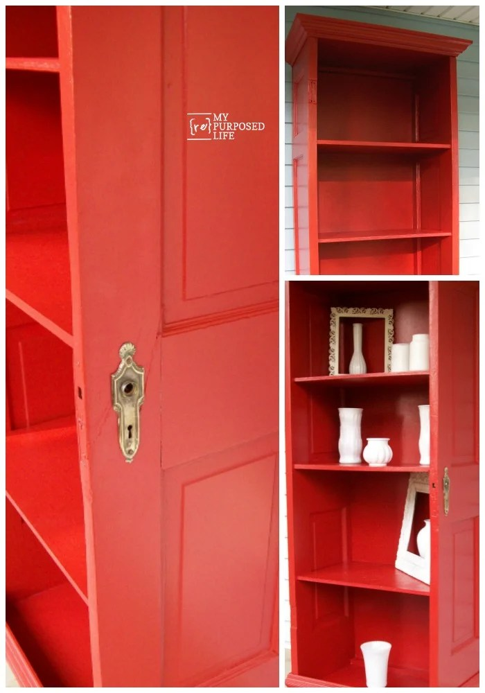 How to use an old door to make a bookshelf. Step by step directions on how to accomplish this project in a weekend.  #MyRepurposedLife #repurposed #furniture #door #bookshelf #red via @repurposedlife