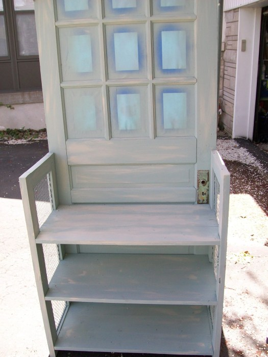 how to finish off an upcycled door bookshelf