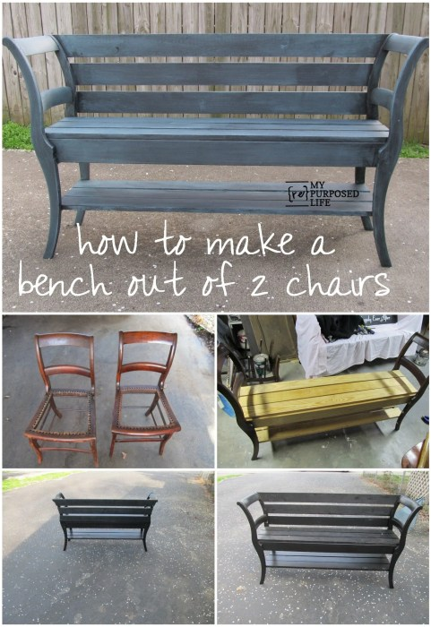 how to make a bench out of 2 chairs