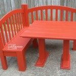 kids corner table and corner bench painted red MyRepurposedLife
