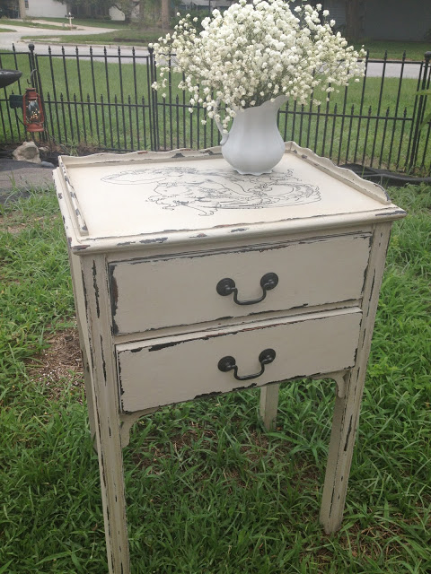 distressed table with vaseline & DIY Chalk Paint