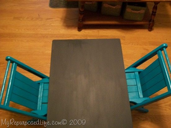 living room side table into kid's chalkboard table