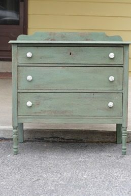 green milkpaint dresser