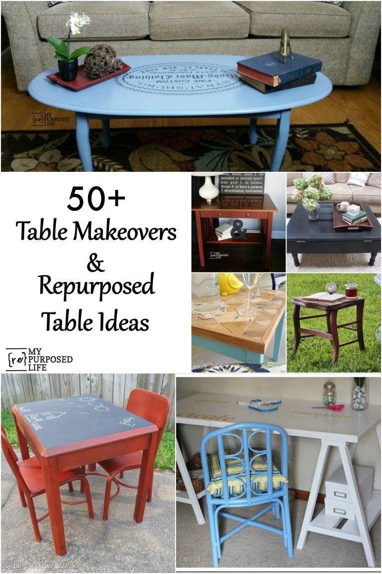 50 table makeovers and repurposed table ideas